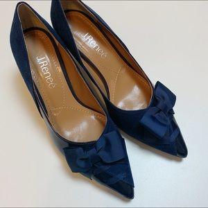 J. Renee Navy Patent Machealle Pointed Toe Heel